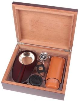 Humidor-Set Kirsche mit Zigarrenetui