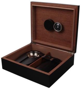 Humidor-Set schwarz mit Zigarrenetui